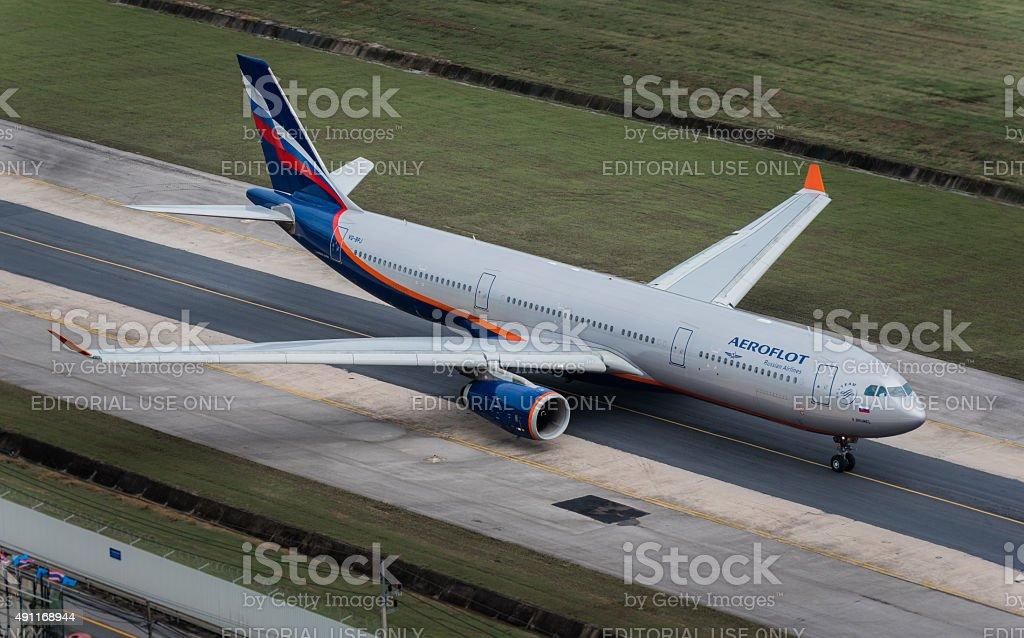 Aeroflot airway  taxi at Phuket Airport i stock photo