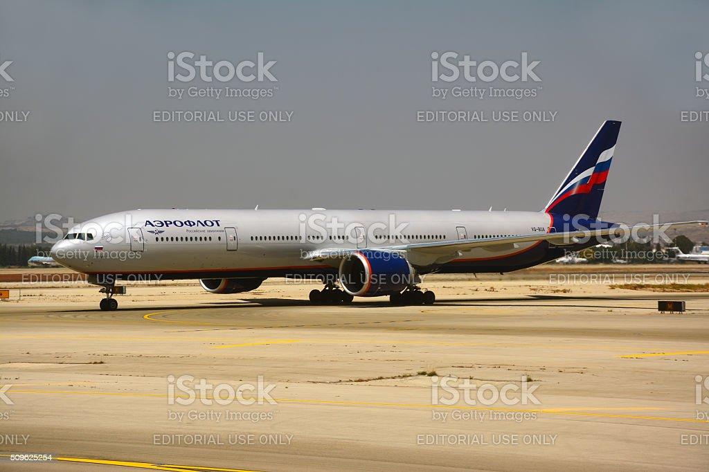 Aeroflot Russian airplane, Boeing 777-300 stock photo