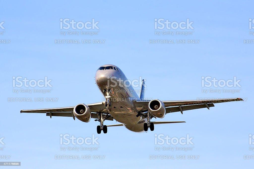 Aeroflot Sukhoi Superjet 100 stock photo