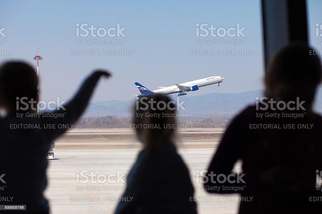 Vladivostok, Russia - April 13, 2014: Aeroflot's Boenig 777 takeoff stock photo