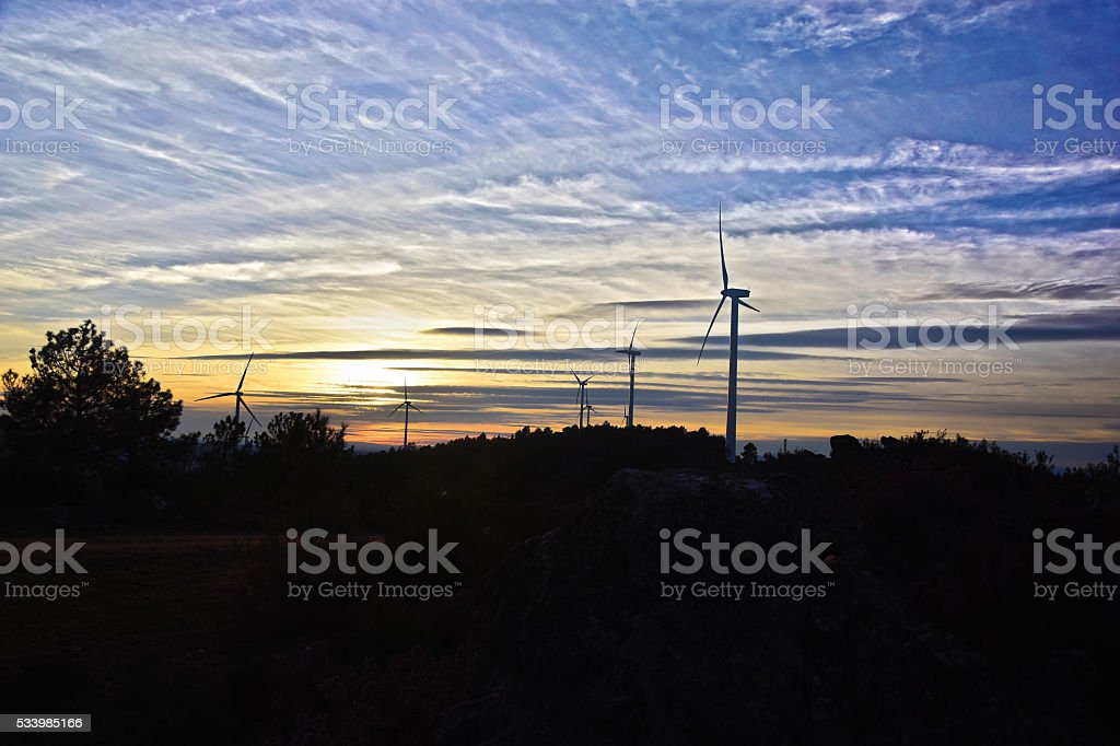 Aerogeneradores Energía Renovable /  Renewable Energy Wind Turbines stock photo