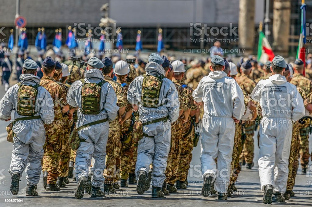 Aeronautica militare troops participating at military parade of Italian National Day stock photo