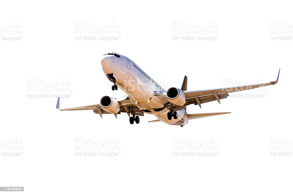 Aeroplane Aircraft on Final Approach Isolated stock photo