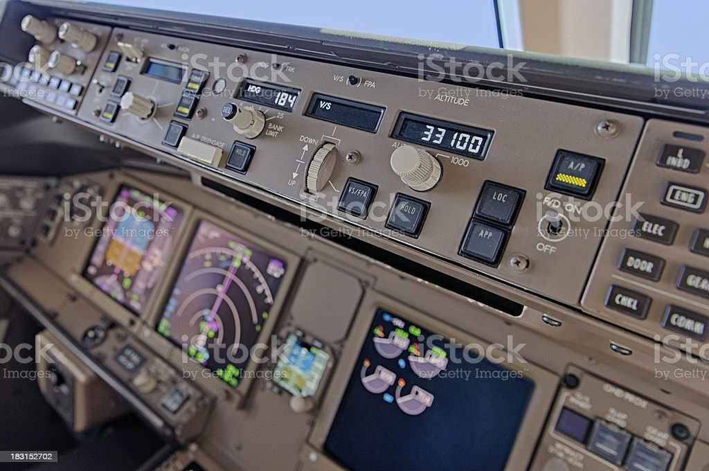 Aeroplane cockpit stock photo