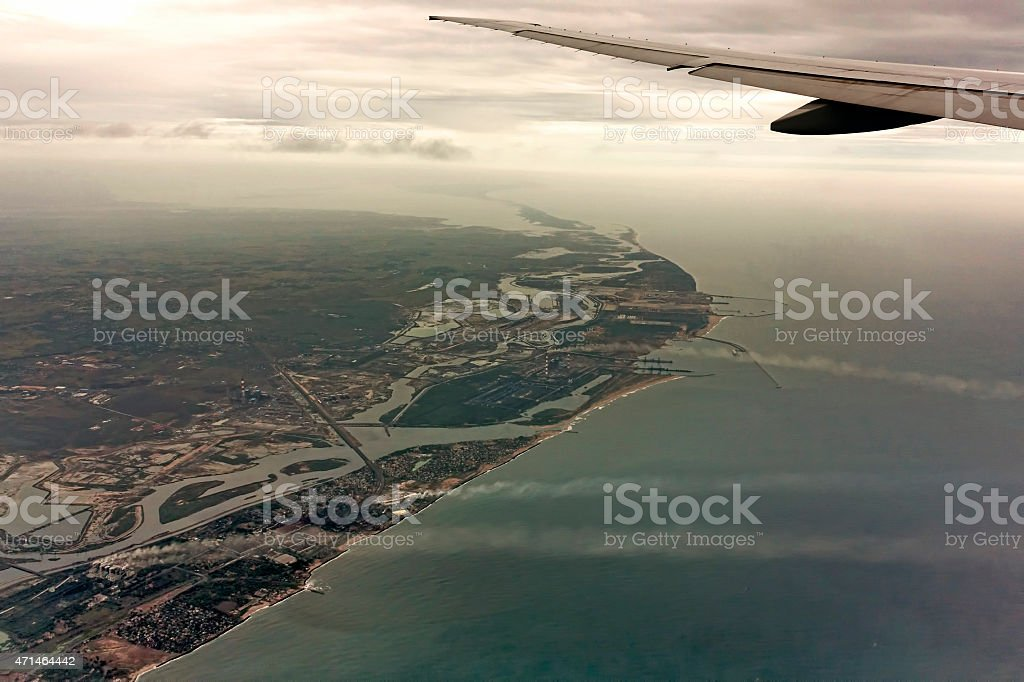 Aeroplane flying over Chennai, India stock photo