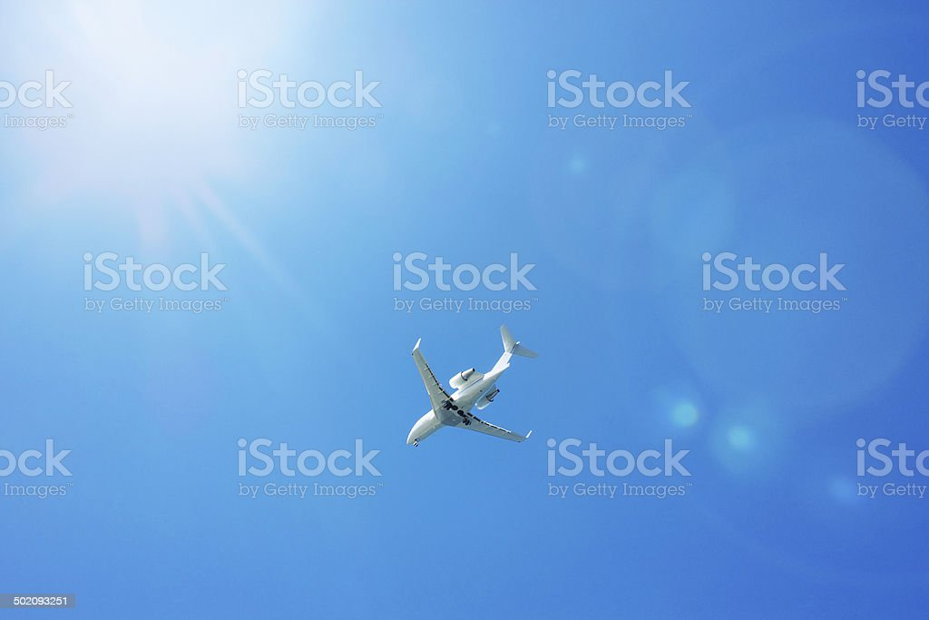 Aeroplane in the clear sky royalty-free stock photo