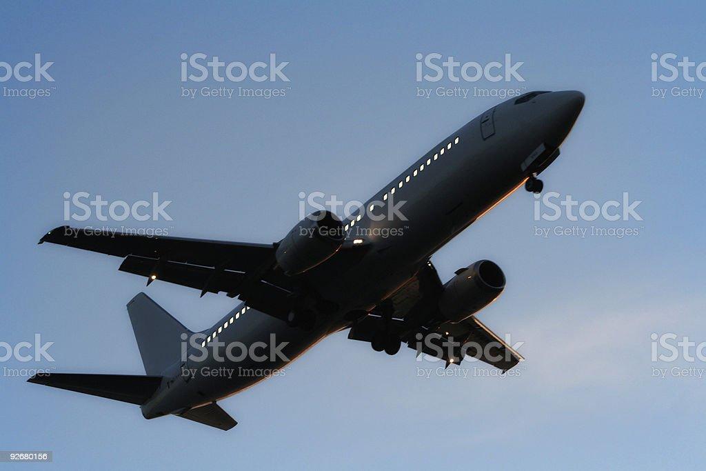 Aeroplane night royalty-free stock photo