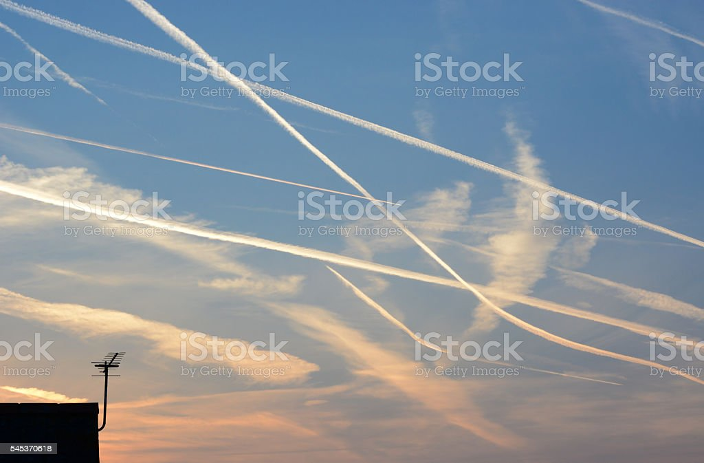 Aeroplane Trails and Aerial stock photo