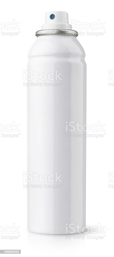 Aerosol spray metal bottle can stock photo