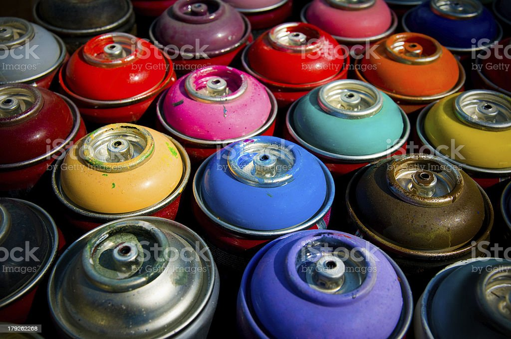 Aerosols with a paint stock photo