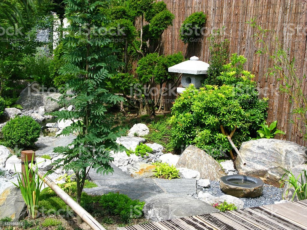 Aesthetic arrangement of a small Japanese style garden stock photo