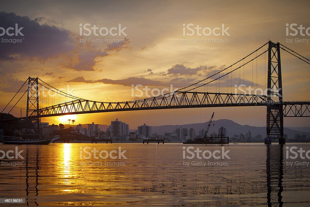 Aesthetic shot of a bridge against skyline in the sunset stock photo