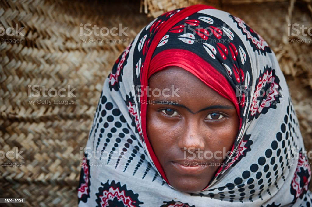 Afar woman in traditional clothing, Danakil Desert, Ethiopia stock photo