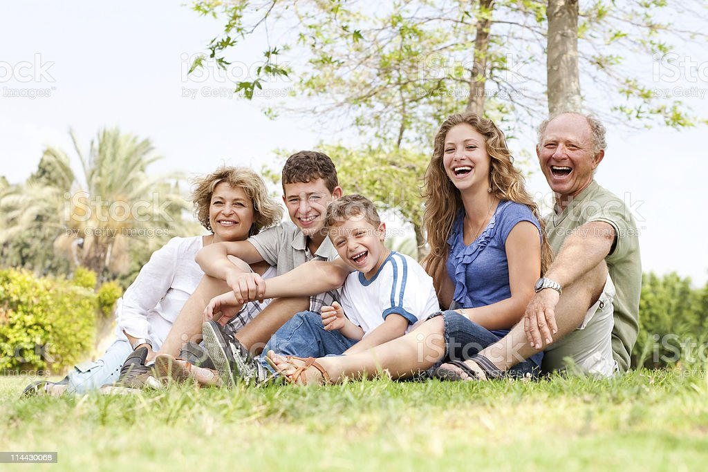 Affectionate family having fun outdoors royalty-free stock photo
