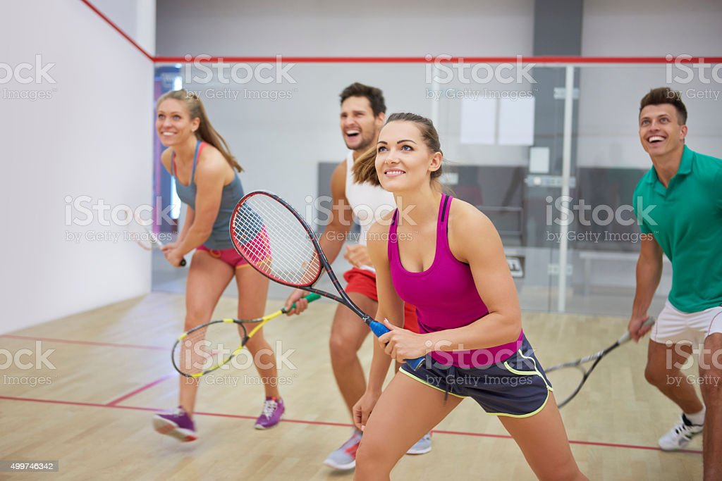 Affectionate friends during the squash game stock photo