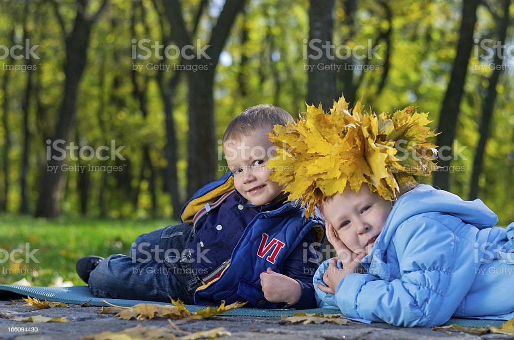 Affectionate little brother and sister royalty-free stock photo