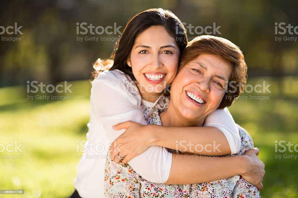 Affectionate mother and daughter stock photo