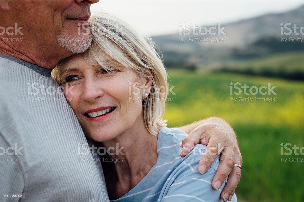 Affectionate Senior Couple stock photo