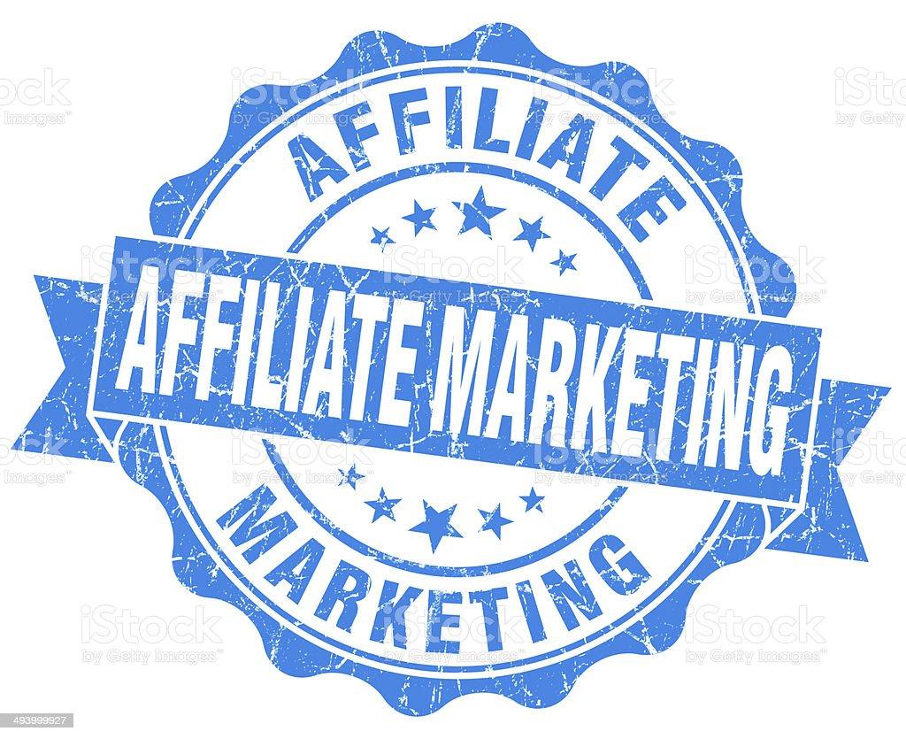 Affiliate marketing blue grunge vintage seal stock photo