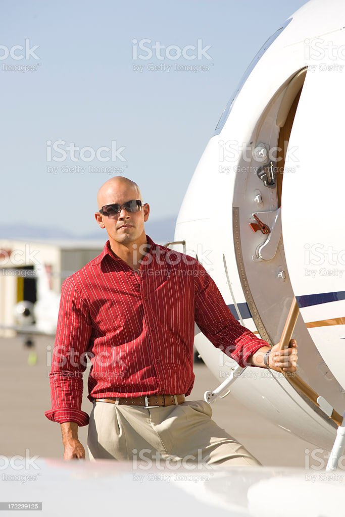 Affluent Travel-Businessman Boarding Airplane royalty-free stock photo