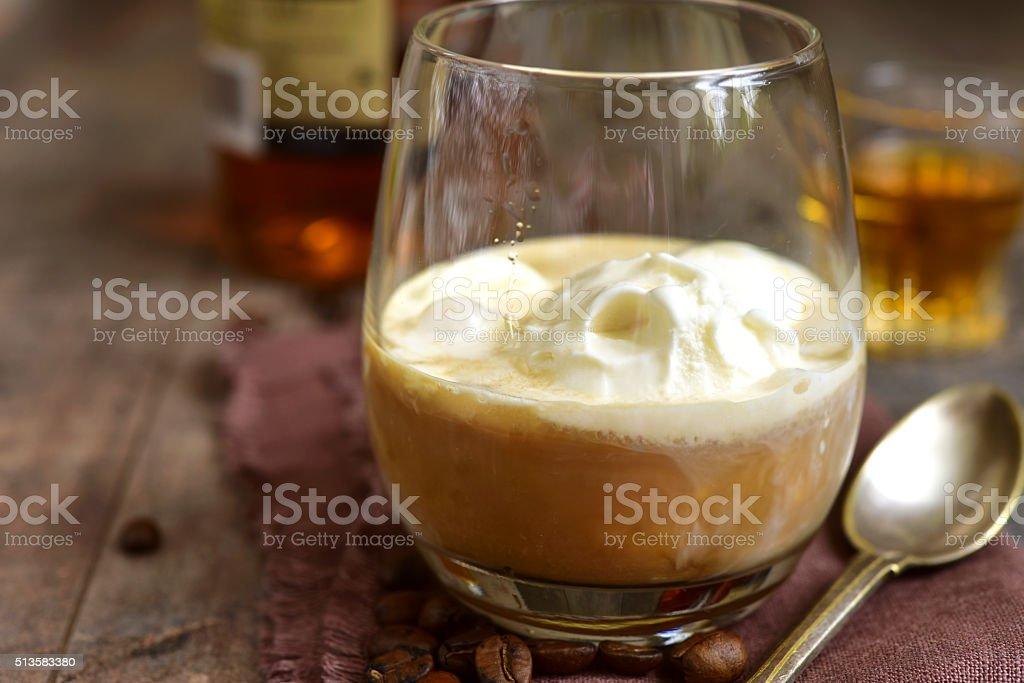 Affogato - traditional italian coffee dessert. stock photo