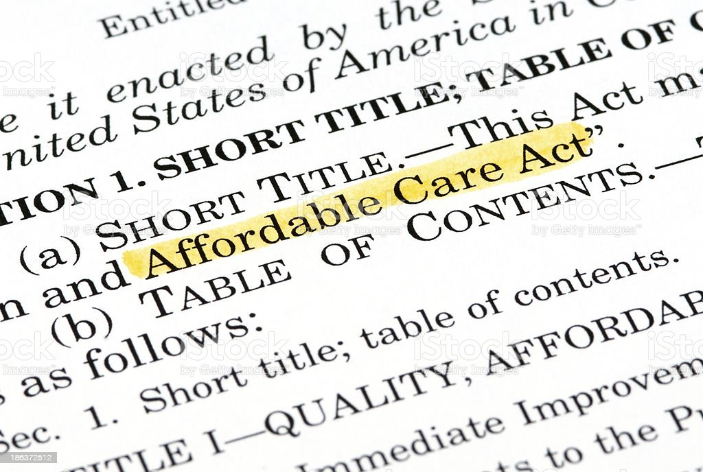Affordable Care Act document stock photo