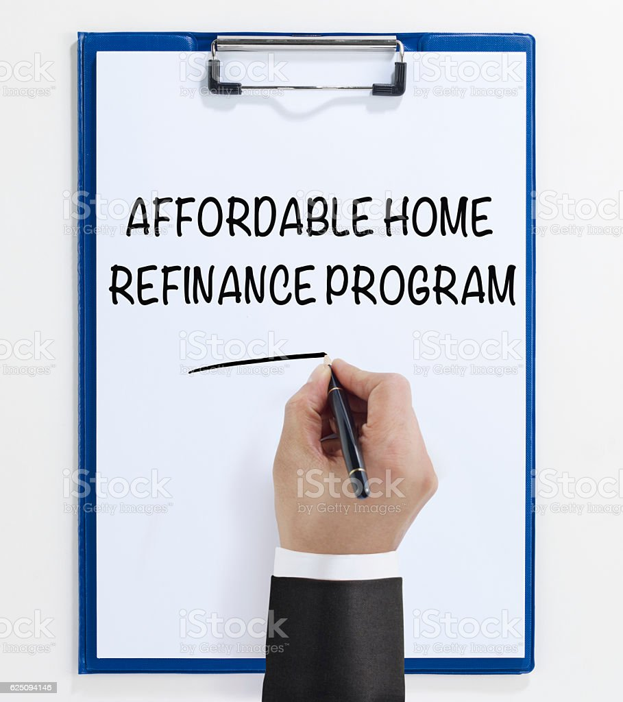 Affordable home refinance program stock photo