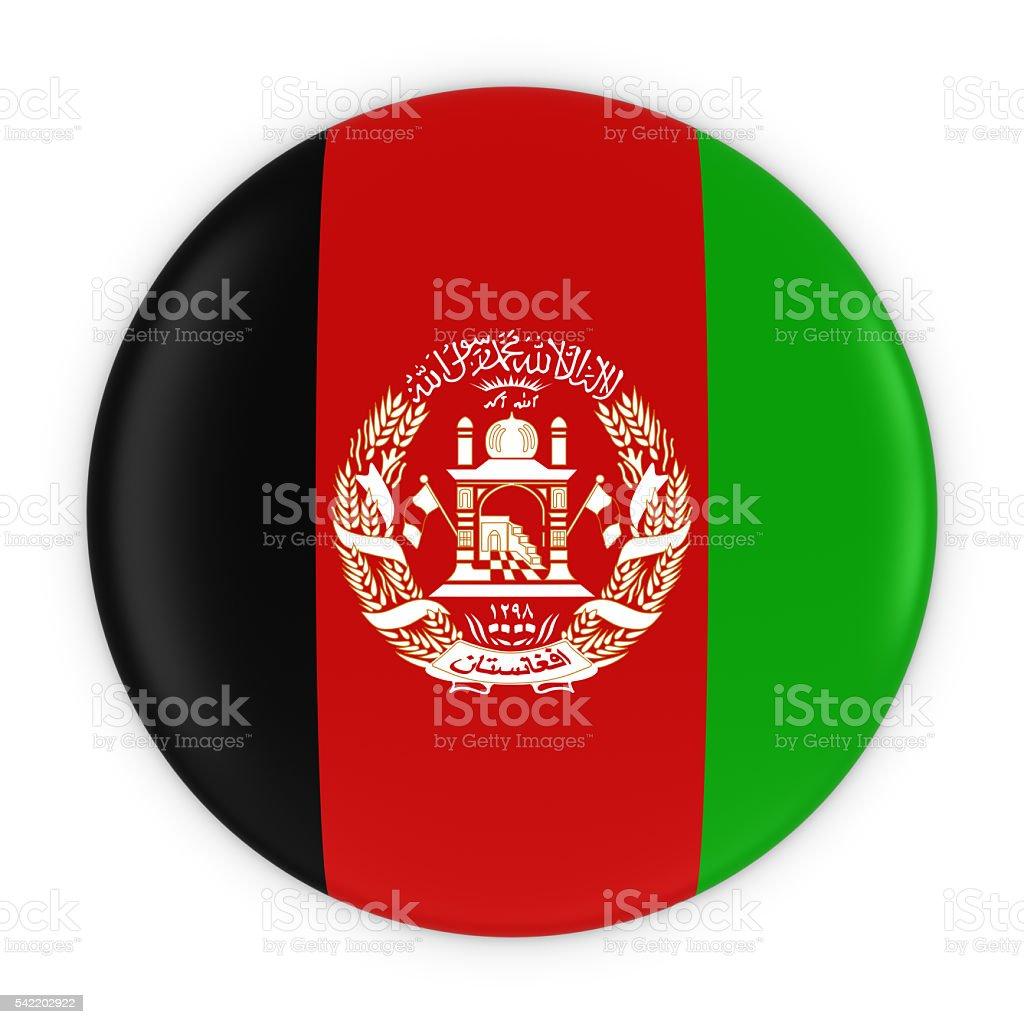Afghan Flag Button - Flag of Afghanistan Badge 3D Illustration stock photo