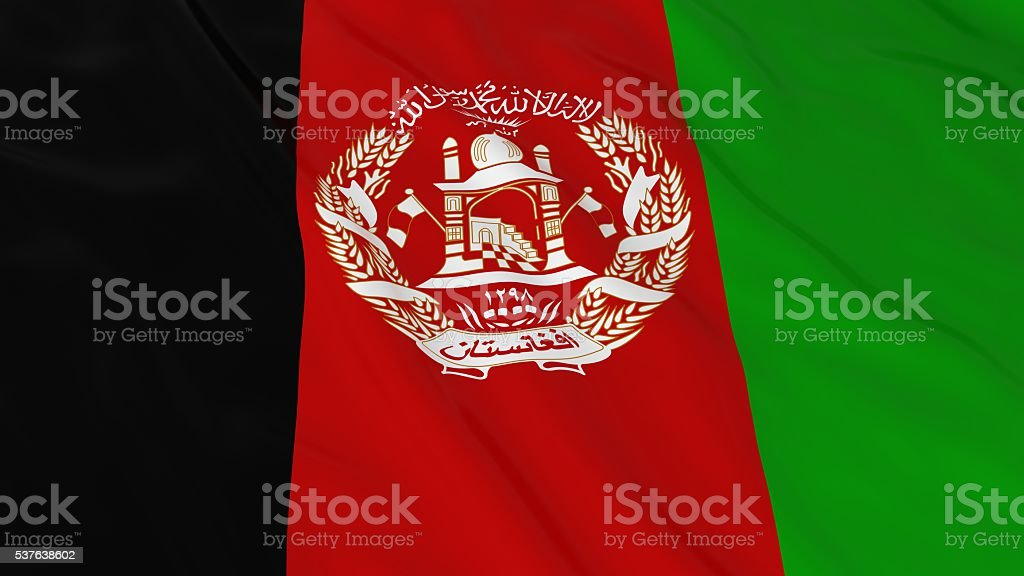 Afghan Flag HD Background - Flag of Afghanistan 3D Illustration stock photo
