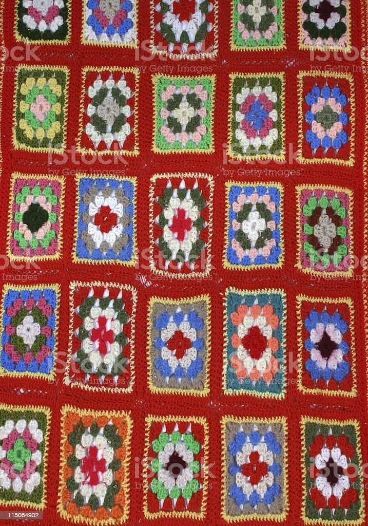 afghan of granny squares; retro stock photo