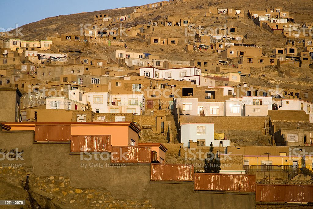 Afghani Village on the Hill stock photo