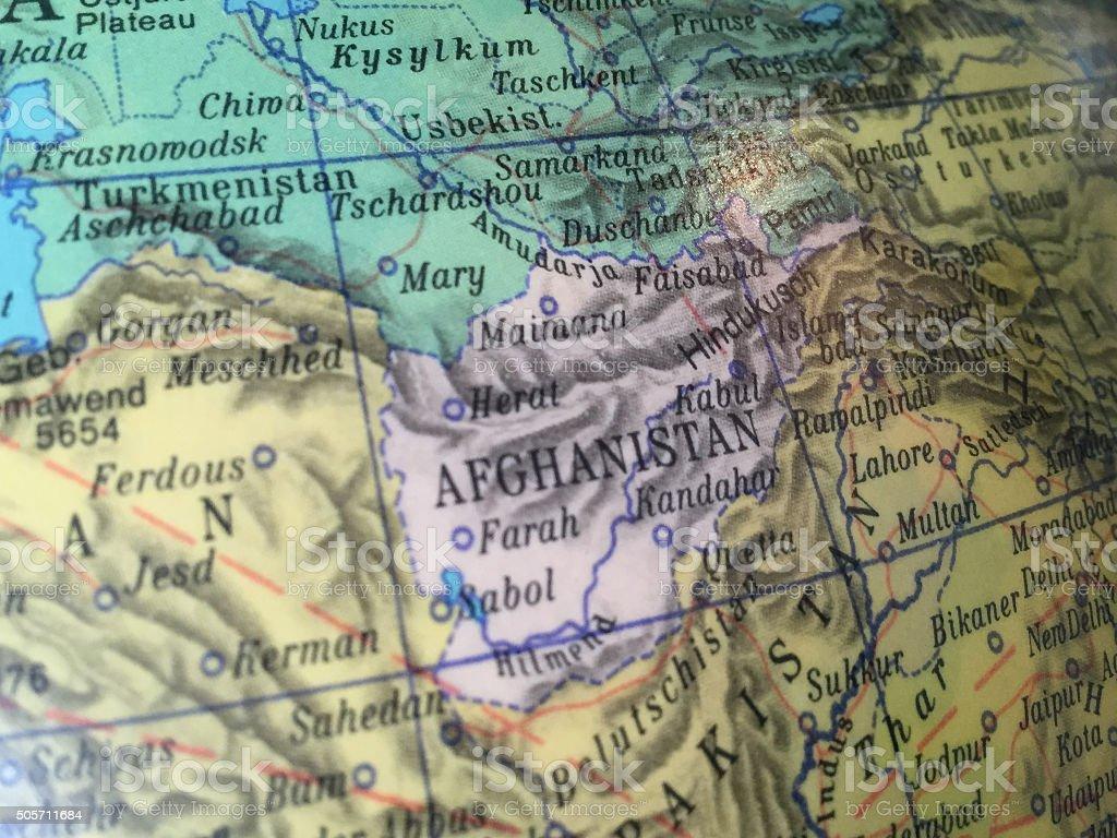 Afghanistan Alter Globus / Weltkarte stock photo