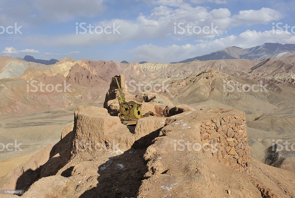 Afghanistan artillery in mud fort stock photo