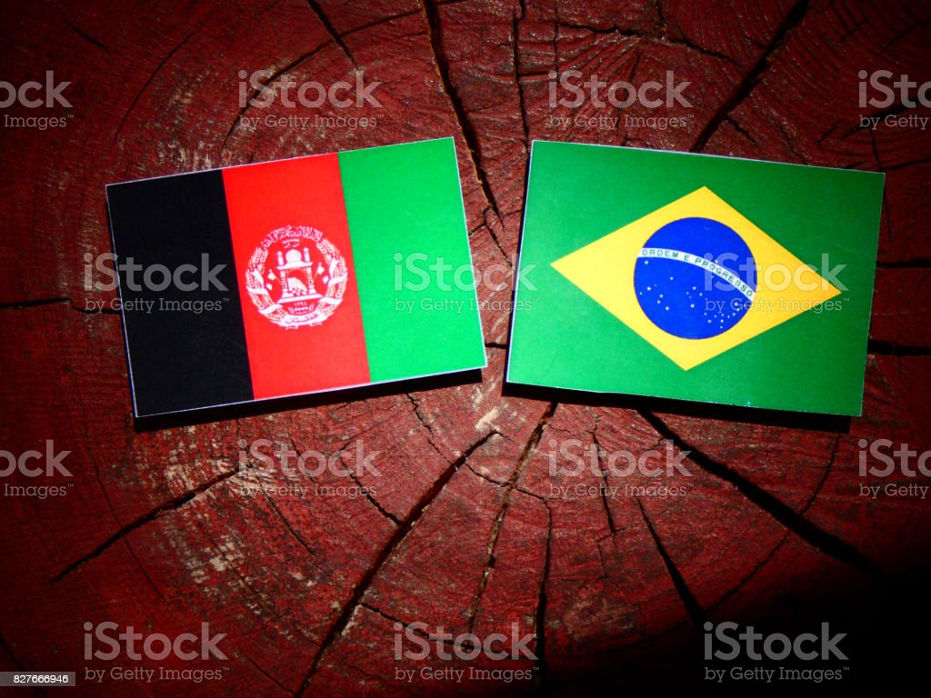 Afghanistan flag with Brazilian flag on a tree stump isolated stock photo