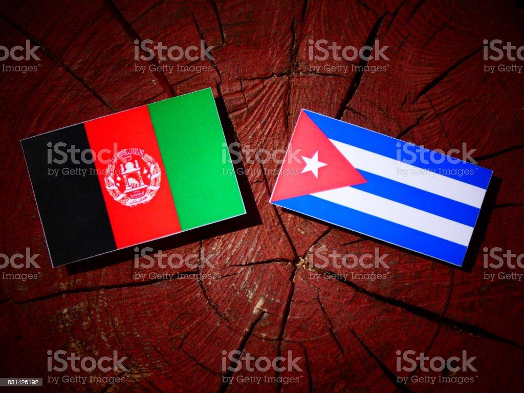 Afghanistan flag with Cuban flag on a tree stump isolated stock photo