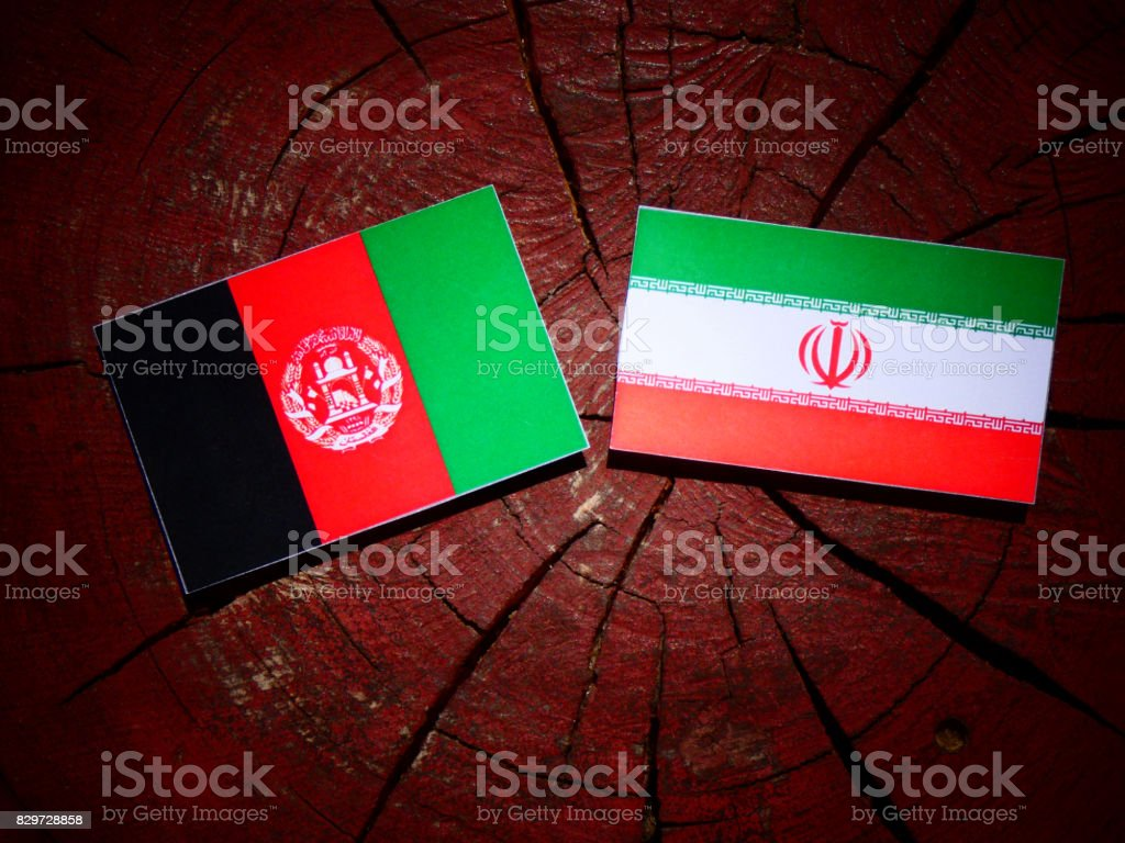 Afghanistan flag with Iranian flag on a tree stump isolated stock photo