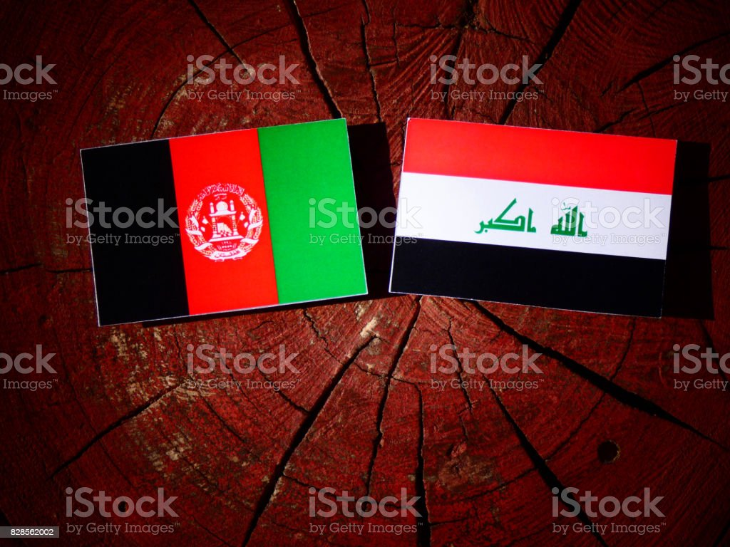 Afghanistan flag with Iraqi flag on a tree stump isolated stock photo