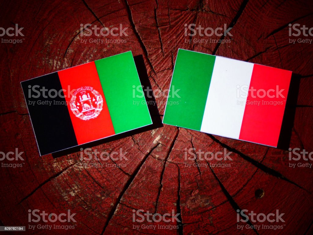 Afghanistan flag with Italian flag on a tree stump isolated stock photo