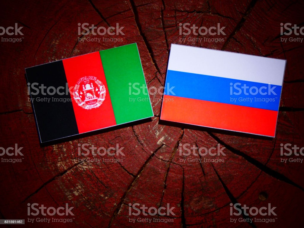 Afghanistan flag with Russian flag on a tree stump isolated stock photo
