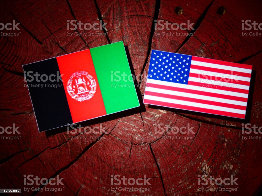 Afghanistan flag with USA flag on a tree stump isolated stock photo