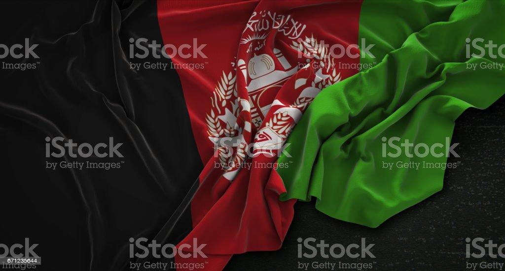 Afghanistan Flag Wrinkled On Dark Background 3D Render stock photo