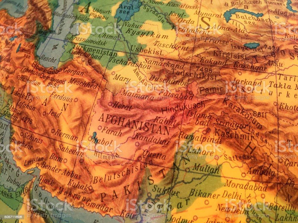 Afghanistan Karte - Alter Globus / Weltkarte stock photo