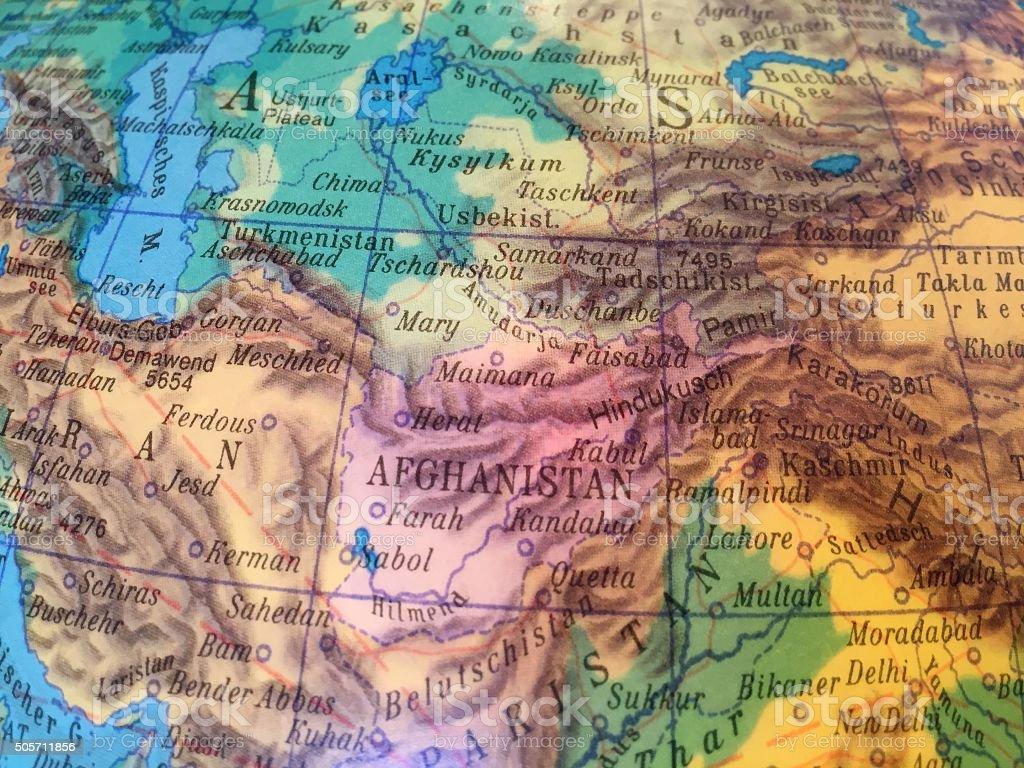 Afghanistan Landkarte - Alter Globus / Weltkarte stock photo