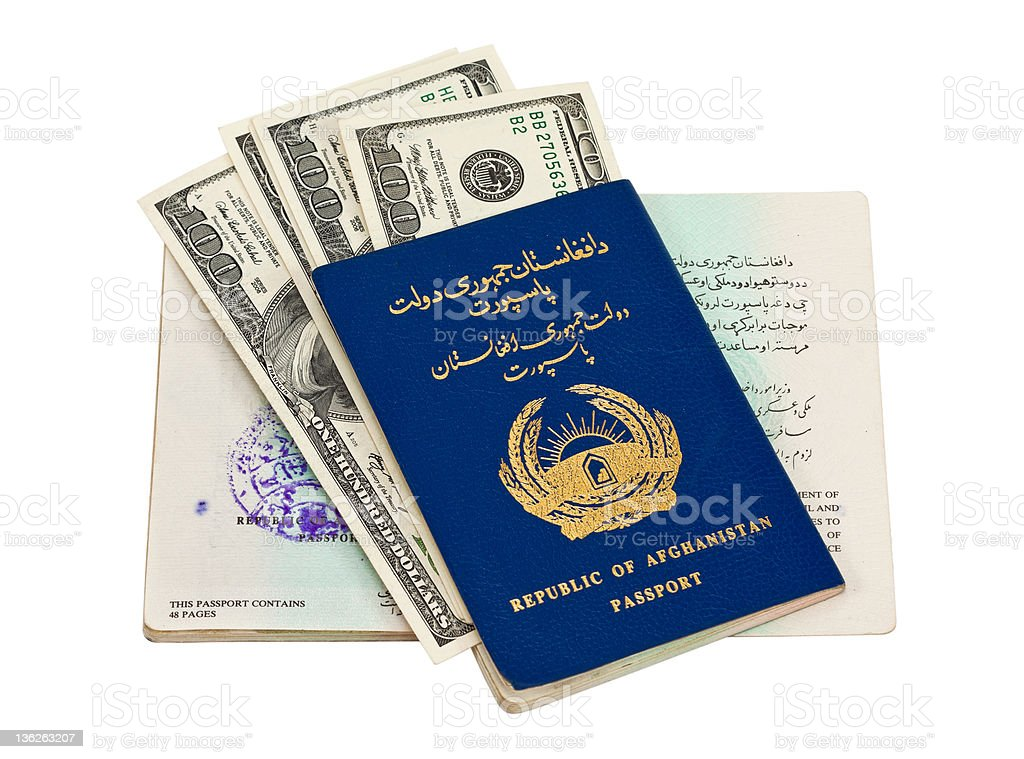 Afghanistan passport and money royalty-free stock photo