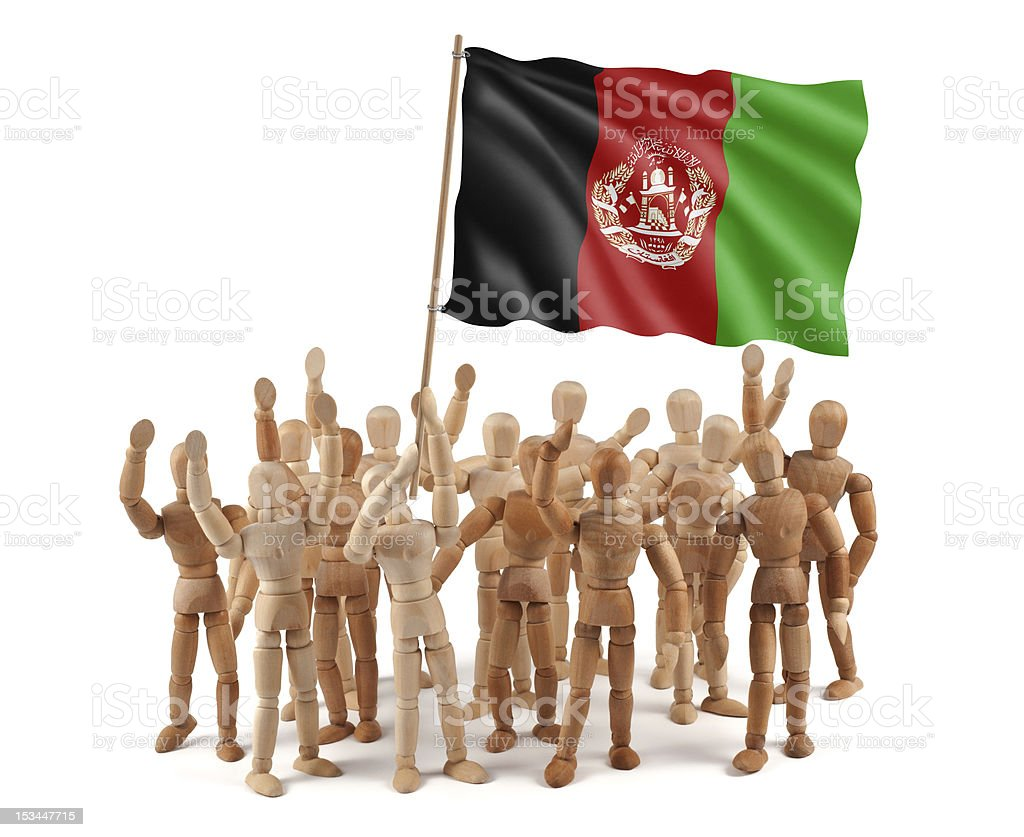 Afghanistan - wooden mannequin group with flag royalty-free stock photo