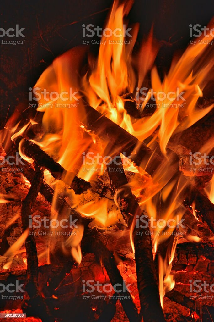 Aflame wood stock photo
