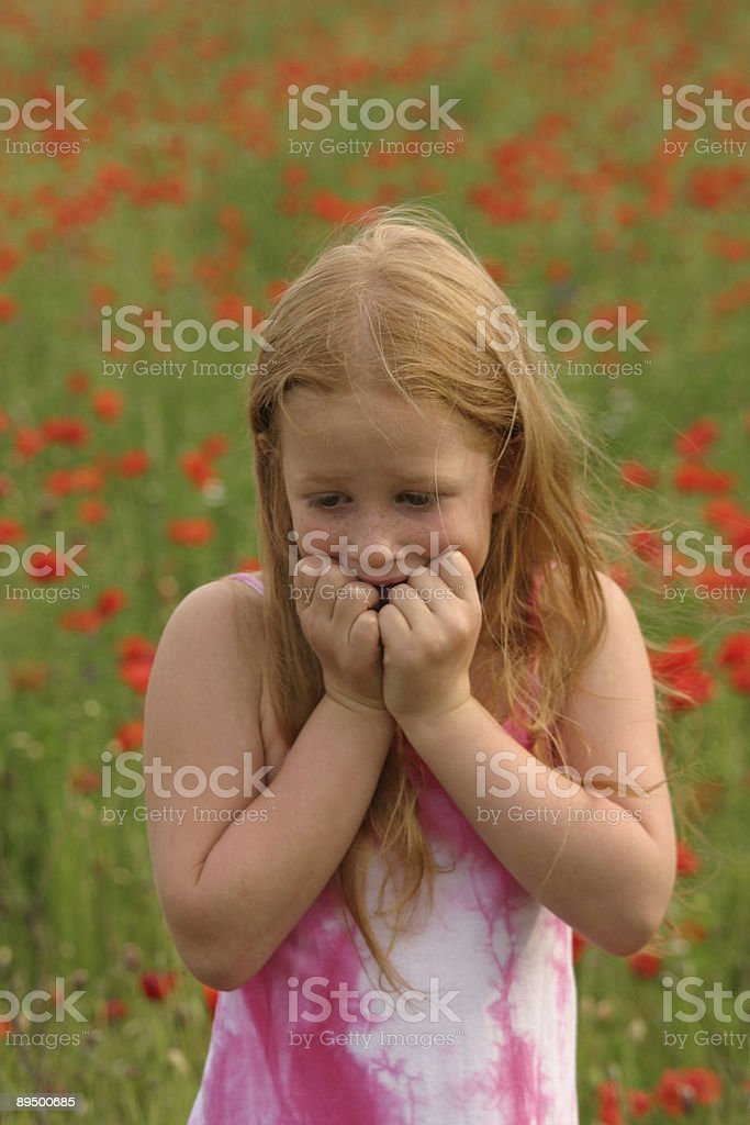 afraid anxious girl stock photo