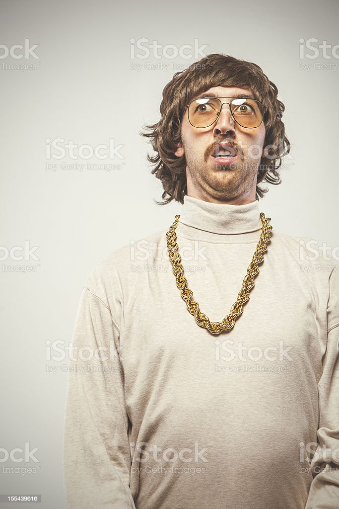 Afraid Retro Seventies Man stock photo