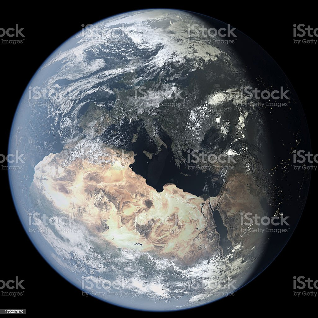 Africa and Europe from Space royalty-free stock photo