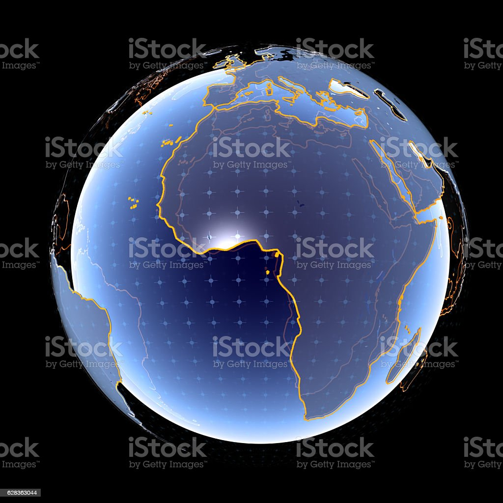Africa and Europe in The Digital World stock photo